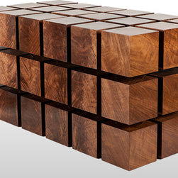 "RPR's Float Table - The Float Table is a matrix of ""magnitized"" wooden cubes that levitate with respect to one another. The repelling cubes are held in equilibrium by a system of tensile steel cables."