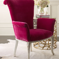 """""""Sonia"""" Chair - The """"Sonia"""" Chair is handcrafted in rubberwood and is sure to delight with its beautiful shape and nail-head trim accent.  The velvet uphostery would add a touch of luxury to any room."""