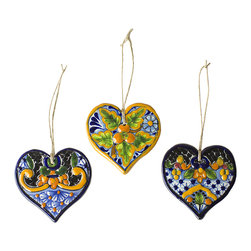 Native Trails - Talavera Heart Ornament (Set of 3) - Handmade and delightful, our Talavera Heart Christmas Ornaments add warmth and vibrant color to your home. Intricately hand painted, each one-of-a-kind ornament has many uses: a beautiful handpainted Christmas tree ornament, a thoughtful gift topper, or a charming conversation starter, hanging on the wall. Set of 3 includes 3 patterns; Peaches, Asters and Quatrefoil. Due to the hand-made nature of this piece, details of patterns and colors hues may vary, which makes each ornament a unique work of art.