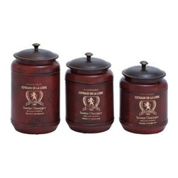 "Benzara - Canisters in Red Shade with Transitional Style - Set of 3 - Canisters in Red Shade with Transitional style - Set of 3. This Set of 3 metal canisters adds up to the complete look of your designer kitchen. It comes with a following dimension 5""W x 5""D x 9""H. 5""W x 5""D x 8""H. 5""W x 5""D x 7""H."