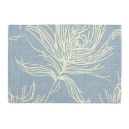 Sky Blue Feather Print Custom Placemat Set - Is your table looking sad and lonely? Give it a boost with at set of Simple Placemats. Customizable in hundreds of fabrics, you're sure to find the perfect set for daily dining or that fancy shindig. We love it in this modern print with giant white feathers flating across a striated sky blue cotton ground.