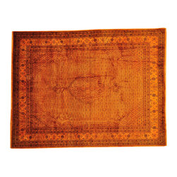 Oriental Rug, Hand Knotted 8'X10' Tabriz Mahi Overdyed Burnt Orange Rug SH13489 - This collection consists of fine knotted rugs.  The knots per square inch means more material in the rug as well as more labor.  This leads to a finer rug and a more expoensive rug.  Classical and traditional persian motifs are usually used as designs in these rugs.