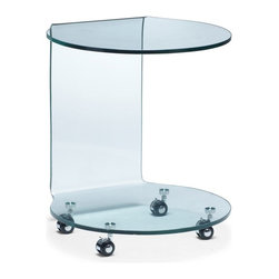 Zuo Modern - Zuo Mission End Table - End Table belongs to Mission Collection by Zuo Modern Perfect for the side or into the from of a sofa, the Mission is made of bent semi-tempered glass with rolling casters. End Table (1)