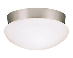 BUILDER - KICHLER 8102NIFL Energy Efficient Flush Mount Ceiling Light - Clean lines are accentuated by clean finishes on this Kichler Lighting flush mount ceiling light. This energy efficient light fixture features a white clip on glass for ease of use and a coordinating Brushed Nickel finish that provides a clean backdrop to pull the look together.