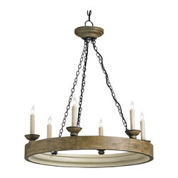 Kathy Kuo Home - Smokewood Rustic Lodge Crackle 6 Light Chandelier - This traditionally styled circular wood chandelier sets the stage for a beautiful smokewood crackle finish to be illuminated by 6 lights. A perfect compliment to French Country style décor, this piece works with a variety of traditional styles.