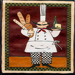 """Tile Art Gallery - Chef with Bread - Ceramic Accent Tile, 6 in - This is a beautiful sublimation printed ceramic tile entitled """"Chef with Bread"""" by artist Anne Tavoletti. The printed tile displays an Italian themed Chef. Pricing starts at just $14.95 for a 4.25 inch tile."""