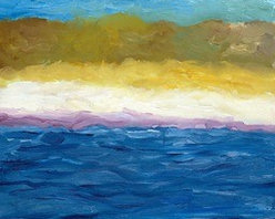 """""""Abstract Dunes"""" (Original) By Michelle Calkins - Sky, Earth And Water Anchor This Abstracted Seascape.  It Comes Framed In A Simple Genuine Walnut Hardwood."""