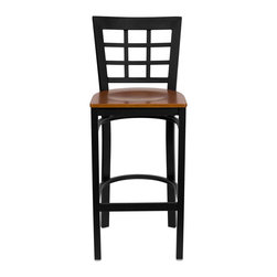 """Flash Furniture - HERCULES Series Black Window Back Metal Restaurant Bar Stool - Cherry Wood Seat - This heavy duty commercial metal bar stool is ideal for Restaurants, Hotels, Bars, Pool Halls, Lounges, and in the Home. The lightweight design of the stool makes it easy to move around. The tubular foot rest not only supports your feet, but acts as an additional reinforcement that helps secure the legs. You will not regret the purchase of this bar stool that is sure to complement any environment to fill the void in your decor.; Heavy Duty Restaurant Bar Stool; Window Style Back; Cherry Finished Wood Seat; .75"""" Thick Plywood Seat; 18 Gauge Steel Frame; Welded Joint Assembly; Two Curved Support Bars; Foot Rest Rung; Black Powder Coated Frame Finish; Plastic Floor Glides; Designed for Commercial Use; Suitable for Home Use; Assembly Required: Yes; Country of Origin: China; Warranty: 2 Years; Weight: 30 lbs.; Dimensions: 41.75""""H x 16""""W x 19""""D"""