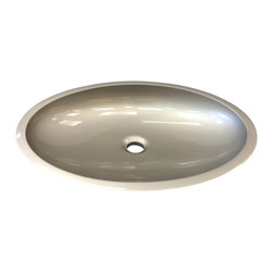 Maestrobath - Vetro Freddo Kool Modern Sink, Platinum - This uniquely shaped sink wraps around itself in the back and it is slightly declined towards the front. Kool is made out of a material called Vetro Fredo which is a mixture of glass pigments and resin making it extremely resilient to high and low temperatures. The general outline is elliptical and available in three sizes and four dark and warm colors it will look perfect on the countertop of your bathroom with its wide and low profile design.  This contemporary bathroom sink is a focal point of any bathroom.