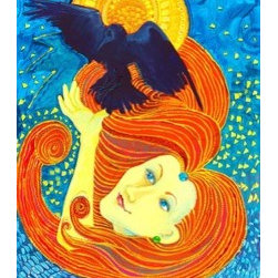 Raven And Yellow Lady (Original) by Nancee Jean Busse - I love ravens. In some Native American folklore, Raven flies into the depths of hell for love. You gotta admire that indomitable spirit! In a flight of fancy I painted this bright and joyful communion: woman and raven.