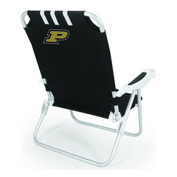 "Picnic Time - Purdue University Monaco Beach Chair Black - The Monaco Beach Chair is the lightweight, portable chair that provides comfortable seating on the go. It features a 34"" reclining seat back with a 19.5"" seat, and sits 11"" off the ground. Made of durable polyester on an aluminum frame, the Monaco Beach Chair features six chair back positions and an integrated cup holder in the armrest. Convenient backpack straps free your hands so you can carry other items to your destination. Rest and relaxation come easy in the Monaco Beach Chair!; College Name: Purdue University; Mascot: Boilermakers; Decoration: Digital Print"
