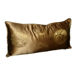 Used Silk Bronze Medallion 12x24 Pillow - Layering on the perfect throw pillow is the cherry on top for achieving an effortlessly styled effect in your room. This adorable 12x24 bronze silk pillow features a subtle medallion design, piping, a down/feather insert, and a hidden zipper on the back.    We have 5 pillows available. If you would like more than one, please contact support@chairish.com.