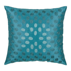 Rizzy Rugs - Rizzy Home Peacock Blue 18 Inch x 18 Inch Pillow Cover with Hidden Zipper - - Pillow Cover with Hidden Zipper  - Poly Slub Fabric  - Embroidered Details  - Primary Color - Peacock Blue  - Secondary Color - Aqua  -  Hand Wash in Cold Water. Lay Flat to Dry. Rizzy Rugs - T03604