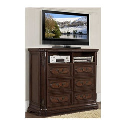 Homelegance - Spanish Bay 54 in. TV Chest - Six dovetailed drawers. Raised ash burl veneer panels. Antiqued brass hardware. Ball bearing side glide. Dark brown cherry finish. 54 in. W x 20 in. D x 46 in. HThe Spanish Bay Collection exemplifies the best of Old Europe. Bring home Spanish Bay and bring home the grandeur of European heritage.