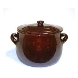Authentic Italian Cookware - Piral, Stewpot 5.5 Quart, 2 handle with Lid, Chocolate Brown