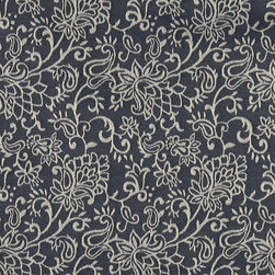 Navy Blue, Contemporary Floral Designed Woven Upholstery Fabric By The Yard - This material is an upholstery grade jacquard fabric. It is lightweight, but is rated heavy duty and upholstery grade.
