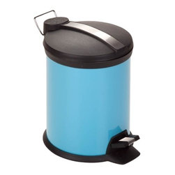 3L Step Trash Can, Blue - Honey-Can-Do TRS-02072 2-Tone Steel Step Trash Can, Robin's Egg Blue.  A contemporary and colorful addition to any room, this 3L trash can is the perfect size for a dorm room, bathroom, or home office. The sturdy construction and robust design stand up to daily use. A steel foot pedal provides hands-free operation to keep germs at bay. A plastic inner trash bucket is fully removable for easy emptying and cleaning. The bright blue, hand print resistant exterior is easy to clean and features a metal fold down carrying handle.