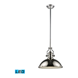 Elk Lighting - EL-66118-1-LED Chadwick LED 1-Light Pendant in Polished Nickel - The Chadwick Collection reflects the beauty of hand-turned craftsmanship inspired by early 20th century lighting and antiques that have surpassed the test of time. This Robust Collection features detailing appropriate for classic or transitional decors. White glass compliments the various finish options including polished nickel, satin nickel, and antique copper. Amber glass enriches the oiled bronze finish. - LED offering up to 800 lumens (60 watt equivalent) with full range dimming. Includes an easily replaceable LED bulb (120V).