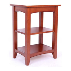Alaterre Furniture - Shaker Cottage 2 Shelf End Table - Cherry - Practical Cottage Style end table with two shelves to keep your room neat & organized. Versatile table works with a variety of décor styles & in any room. Made of select hardwoods & composite wood. Assembly required, but easy to assemble. Made in China. 20 in. L x 15 in. W x 27 in. H (31 lbs.)