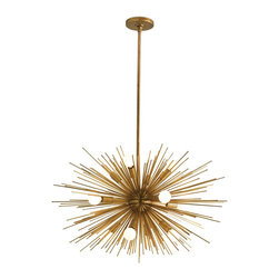 Arteriors Zanadoo 12L Iron Chandelier - How fabulous is this chandelier? It's like a giant sunburst and would add a dramatic touch to any dining space.