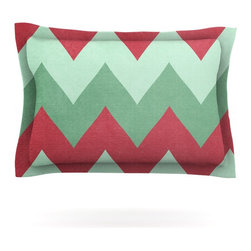 """Kess InHouse - Catherine McDonald """"Holiday Chevrons"""" Pillow Sham (Cotton, 40"""" x 20"""") - Pairing your already chic duvet cover with playful pillow shams is the perfect way to tie your bedroom together. There are endless possibilities to feed your artistic palette with these imaginative pillow shams. It will looks so elegant you won't want ruin the masterpiece you have created when you go to bed. Not only are these pillow shams nice to look at they are also made from a high quality cotton blend. They are so soft that they will elevate your sleep up to level that is beyond Cloud 9. We always print our goods with the highest quality printing process in order to maintain the integrity of the art that you are adeptly displaying. This means that you won't have to worry about your art fading or your sham loosing it's freshness."""