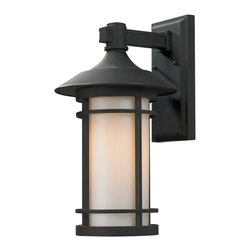 Z-Lite - Z-Lite Woodland Outdoor X-BRO-B825 - Today's contemporary homes as well as homes of the craftsmen style are particularly well suited with the classic styling of this large outdoor wall mount. This fixture has oil rubbed bronze finish with matte opal glass.
