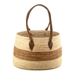 African Market Basket with Handles - I'd love this basket for my weekly farmers' market fare. This handwoven basket with leather handles could save a lot of plastic bags when shopping.