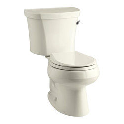 KOHLER - KOHLER Toilet Handles Wellworth 2-piece 1.28 GPF Round Toilet in Biscuit - An industry standard since 1936 the Wellworth toilet offers an iconic streamlined design. With a 1.28-gal. flush and space-saving round-front bowl this Wellworth high-efficiency toilet features outstanding performance while remaining economical in its water usage saving over 16500 gal. of water per year compared to a 3.5-gal. toilet. Color: Biscuit.