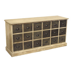 Kathy Kuo Home - Rustic Lodge Reclaimed Pine Chunky Wood 18 Drawer Sideboard - Looking for a functional sideboard with center stage-worthy looks? This reclaimed pine piece delivers. It has 18 ample drawers to keep you perfectly organized and vintage charm that doesn't skimp on style.