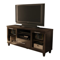 "South Shore - South Shore Aidan TV Stand in Matte Brown - South Shore - TV Stands - 4909662 - The Aidan TV Stand will bring elegance to any room. Its mattebrown finish and transitional style make it easy to blend in variousdecors. It features framed doors with windows decorative legs and athick hollow top. It can accommodate TVs up to 60 inches with a weightcapacity of 185 pounds. It features two closed compartments behindframe doors with windows divided by an adjustable shelf one practicaldrawer with a fixed shelf above it. The drawer is equipped with metalslides for smooth gliding and a metal handle in stainlessfinish.Features:TV Stand Manufactured from recycled CARB compliant particle panelsMatte Brown finishAccommodates LCD and plasma televisions up to 60"""" with a weight capacity of 200 lbsAdjustable shelves behind both doorsFixed center shelf above the drawerOne practical storage drawerLightweight topFramed doors with windowsIdeal height for ergonomic TV watchingCentral fifth leg for extra strengthMetal handles with a stainless finishDecorative legs with a Matte Brown finishMetal slides for smooth glidingTransitional styleMade of EPP certified panels (Environmentally Preferred Product)Complete Adult assembly required tools not includedThis item's packaging is ISTA 3A-certified to ensure its integrity and your total satisfaction5 year limited warrantyMade in Canada"