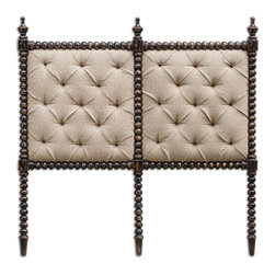 Uttermost - Andaluz King Upholstered Headboard - Spanish-styled turned hardwood frame and carved finials are hand finished in rubbed black, with lush tufting in soft, light mocha linen. French cleat wall attachment.