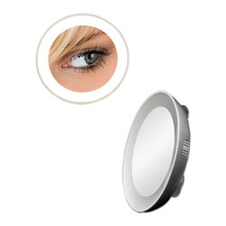 """Zadro - Spot Mirror with LED Surround Light in Silver - The 10X LED Lighted Next Generation Spot Mirror mounts to any mirror or flat, smooth surface. Its versatile design makes it the ideal spot mirror for any situation. Features: -Spot mirror. -Silver finish. -Available in 10x or 15x magnification. -Complete LED surround light. -Three suction cup mounting. -Lifetime Eco-Friendly LED bulbs never need replacing. -Consumes 70% less energy than regular bulbs. -Includes 4 CR2032 batteries. -Manufacturer provides 90 days warranty. Specifications: -Mirror surface dimensions: 3"""" Diameter. -Overall Dimensions: 4.5"""" Diameter x 1"""" Depth."""