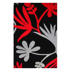Rug - 3-Piece Red/Black Floral Living Room Area Rugs Set, Geometric & Machine Made - GEO COLLECTION