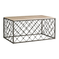 Sherrill Occasional - Sherrill Occasional Lattice Cocktail Table 963-850 - All metal lattice design rectangular cocktail table with welded metal frame work all in a dark brushed nickel finish and accented with a honed travertine stone top.