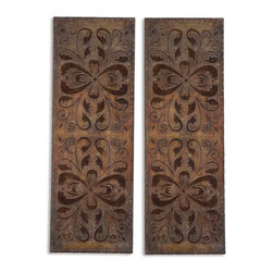 Uttermost - Uttermost Alexia Panels Wall Art (Set of 2) - Uttermost Alexia Panels is a Part of Billy Moon Designs Collection by Uttermost These decorative wall panels are finished in heavily antiqued, rust brown with burnished distressing and gold highlights. Metal Wall Art (2)