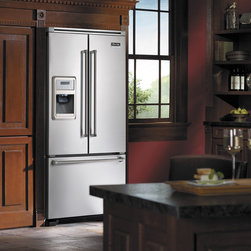 """Viking Professional Series VCFF136DSS 36"""" French-Door Bottom-Mount Refrigerator - 36"""" Freestanding French-Door Bottom-Mount Refrigerator/Freezer with 19.8 Cu. Ft. Capacity, Through-the-Door Ice and Water Dispenser, Electronic Controls with LCD Display, Temperature Adjustable Drawers, Cabinet Depth Design"""