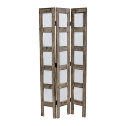 Oriental Furniture - 3 3/4 ft. Tall Narrow Photo Frame Room Divider - Narrow rustic wood folding screen fits fifteen 4-by-6-inch photographs. Finished in a soft, thin wash of white paint over antiqued wood. Dark brass hinges bend to allow independent standing. Place across a corner, on a stair landing, or near a sitting area for a creative display of your favorite family photos or art prints.