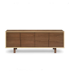 Cherner Chair - Cherner Chair Multiflex 4 Door Cabinet Credenza - Multiflex casegoods are lightweight, strong and made entirely from laminated, cross-ply and molded plywood. Clear or Classic finish on American Walnut veneers are complimented by the exposed mitered and curved plys of the geometric case and molded plywood pulls and legs. Multiflex is available in a range of unit sizes and storage configurations. Made in the USA. Manufactured by Cherner Chair.Designed in 2003.