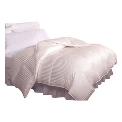 """Bed Linens - Royal Hotel 900TC Silk Down Queen Comfor 50oz.Full/Queen 90X90 Cream Stripe - Royal Hotel 900TC Silk Down Queen comforter 50oz.The ultimate in luxury, Our Royal Hotel is made of the highest quality 900 Thread Count Silk blend fabric for superior softness and is now filled with premium 750 Fill Power white goose down. Higher fill power indicates superior loft and fluffiness. The comforter is overstuffed with down, up to 50 ounces in Queen, 60 ounces in king, to ensure that desirable fluffy and high loft appearance.Our Royal Hotel includes:- The 15 Inch True Baffle Boxes are completely sealed to keep the down from shifting, maximize loft, and avoid cold spots. Baffles are vertical walls of fabric between the top and bottom of the comforter, and provide depth to the comforter.-Luxury 900 Thread Count Silk Blend Fabric (51% silk/49% cotton)-Oversized comforter dimensions for extra coverage that better fits todays thicker & Cal King mattresses. * Queen Size 90x90"""" with 50oz.* King Size 106x90"""" with 60oz.Hypoallergenic: The down is hypercleaned for allergy free comfort.-Warmth Rating: High to Extra High.-Color: Light CREAM-Care Instructions: Dry Clean only. Double stitched. Sateen corded exterior side gusset for added durability and greater down loft."""