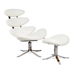 """IFN Modern - Corona Chair & Ottoman Reproduction-White - 100% Italian Leather - A signature piece of modern Danish furniture, Paul Volther is the legendary creator of the original Corona Chair. His design inspired us to create a modern-day version with upgrades to ensure durability in the 21st century.  High-Grade Stainless steel, hex bolts are just some of the features of this eye-catching piece.Chair Dimensions: 37.4"""" H x 34"""" W x 32.6"""" DOttoman Dimensions: 19"""" H x 25.6"""" W x 17.3"""" Dâ— Upholstered in Top-Grain Italian leather â— This product DOES NOT use vinyl, PU or man-made forms of leather on ANY parts of the cushions.â— Stainless Steel Frameâ— High-Density, Fire-Resistant Foam used to preserve cushion shape and increase durabilityâ— Chair swivels 360 degrees, Ottoman is stationary"""