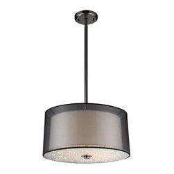 Elk Lighting - Elk Lighting 10313/3 Crystals Modern Drum Pendant Light in Black Chrome - Elk Lighting 10313/3 Crystals Modern Drum Pendant Light in Black Chrome.