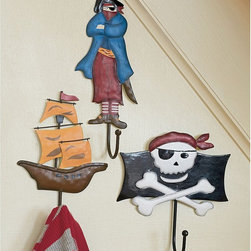 Pirate Wall Hooks - You may find yourself shouting ARRRRR at these fantastically colorful pirate wall hooks. They add a bit of whimsical danger to a space while allowing your child to keep organized. Shiver your timbers.