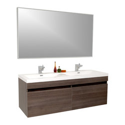 Fresca - Largo Gray Oak Vanity w/ Wavy Double Sinks Bevera Chrome Faucet - Striking in its simplicity, this double sink vanity offers modern sophistication to your bathroom.  It also features uniquely designed chrome faucets and special pull out drawers.  Its large sink has a unique wavy bottom for splash of fun.  Many faucet styles to choose from.