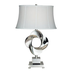 Dimond Lighting - Dimond Lighting D2061 Blackstone Avenue Single-Light Twisted Metal Table Lamp - Artfully formed, the twisted metal body of the Burnham table lamp is simply stunning. Paired with a white Shantung silk drum shade, it is the perfect accompaniment for any room.Features: