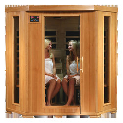 HeatWave Tucson Four Person Corner Infrared Sauna with Carbon Heaters - -9 Carbon Heaters