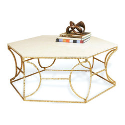 Kathy Kuo Home - Roja Hollywood Antique Gold Leaf Cream Marble Hexagonal Coffee Table - Geometric details in elegant gold-leaf-covered iron form the base of this unexpected cocktail table. Topped in opulent cream marble, each piece has unique markings for a bold statement as an intriguing coffee or side table.