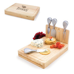 Picnic Time - Tennessee Titans Asiago Folding Cutting Board With Tools in Natural Wood - The Asiago is a folding cutting board with tools that is another Picnic Time original design. This compact, fully-contained split-level cutting board is made of eco-friendly rubberwood. Lift up the top level of the board to reveal four brushed stainless steel cheese tools: a pointed-tipped cheese knife, cheese fork, cheese chisel knife, and blunt nosed hard cheese knife. The tools are magnetically secured to a wooden strip that lifts up so you can close the cutting board and display the tools. Designed with convenience in mind, the Asiago is great for home or anywhere the party takes you.; Decoration: Engraved; Includes: 4 brushed stainless steel cheese tools (1 pointed-tipped hard cheese knife, cheese fork, cheese chisel knife, and blunt nosed soft cheese knife