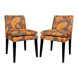 angelo:HOME - angelo:HOME Marnie Dining Chair Set - Desert Sunset Brown Paisley - Set of 2 - D - Shop for Dining Chairs from Hayneedle.com! Dress up dinnertime with the angelo:HOME Marnie Dining Chair Set - Desert Sunset Brown Paisley - Set of 2 - no extra calories required. You'll love the 100% polyester upholstery on these chairs which feature a paisley print in a warm Dark Sunset Brown palette. The pillow top seat is especially cozy and the low backs strike a stylish silhouette. Clean tapered legs in a rich espresso finish complete the look. You'll get two chairs in this set. About angelo:HOME:When he was 6 Angelo Surmelis and his family moved from Greece to the United States. In their new home 6-year-old Angelo started dragging furniture around rearranging it. From that early age he believed that your space - and the way it's arranged - can change the way you feel. This philosophy has landed him on design series on TLC Lifetime The Style Network and HGTV as well as several different television talk shows. Now with Angelo's line of furniture and accessories you can change your space - and the way you feel - quickly and affordably.