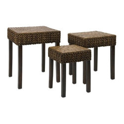 """IMAX CORPORATION - Veneta Woven Nesting Tables - Set of 3 - Veneta Woven Nesting Tables. Set of 3 tables in varying sizes measuring approximately 17.5-20.5-23.5""""H x 13-16.5-20""""W x 13-16.5-20"""" each. Shop home furnishings, decor, and accessories from Posh Urban Furnishings. Beautiful, stylish furniture and decor that will brighten your home instantly. Shop modern, traditional, vintage, and world designs."""
