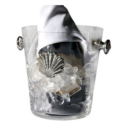 Coquille Glass Ice Bucket - Small - The elegance of an elevated accent on furniture-inspired feet is played with by the design of the Coquille Glass Ice Bucket, which stands on the balanced edges of swirling shells to support the bands of twisted-thread texture that circle the piece. Drop-ring side handles ease the carrying of this barware necessity and contribute to the slightly fanciful attraction of its design details.